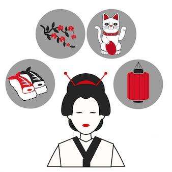 Icônes de symbole de vêtements traditionnels japonais femme
