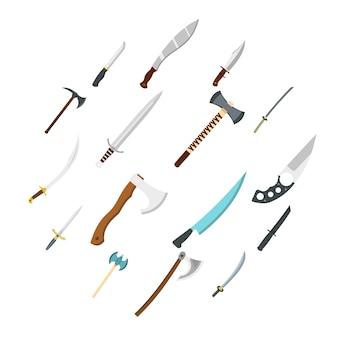 Icônes de symboles d'armes en acier définies dans un style plat