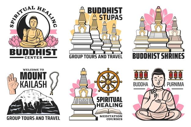 Icônes de symboles de religion bouddhisme