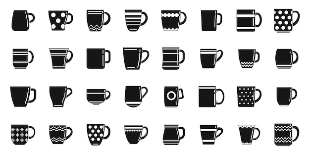 Les icônes de tasse définissent un vecteur simple. tasse à café. tasse chaude à la vapeur
