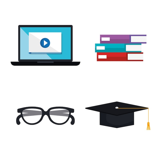 Icônes de technologie d'apprentissage électronique