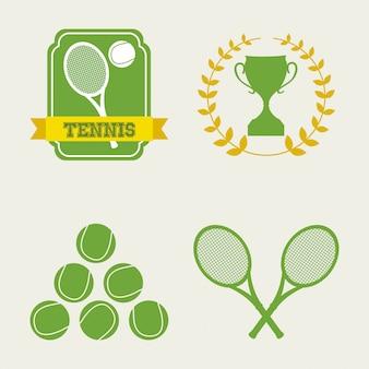 Icônes de tennis au cours de l'illustration vectorielle fond crème