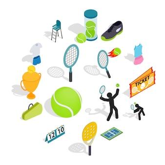 Icônes de tennis définies dans un style 3d isométrique