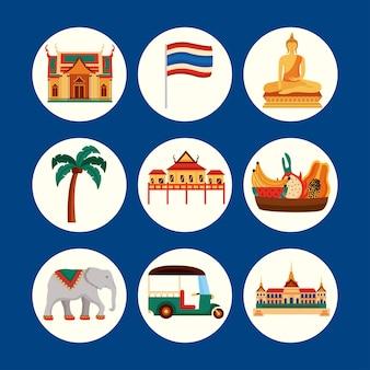 Icônes de la thaïlande traditionnelle