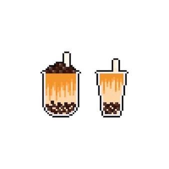 Icônes de thé au lait bulle pixel dessin animé.