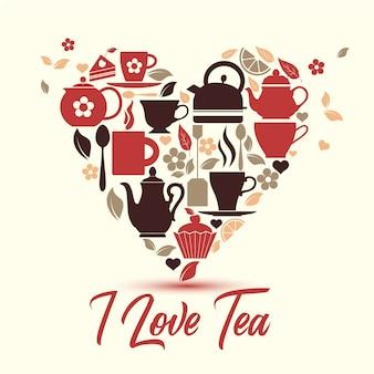 Icônes de thé dans le symbole du coeur.