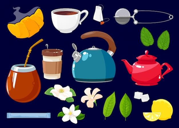 Icônes de thé isolés ensemble objets de dessin animé