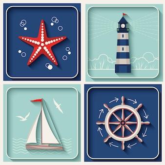 Icônes de thème marin de vecteur