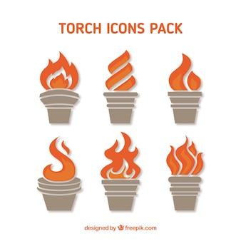 Icônes torch emballent