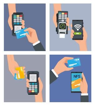 Icônes de transactions en ligne