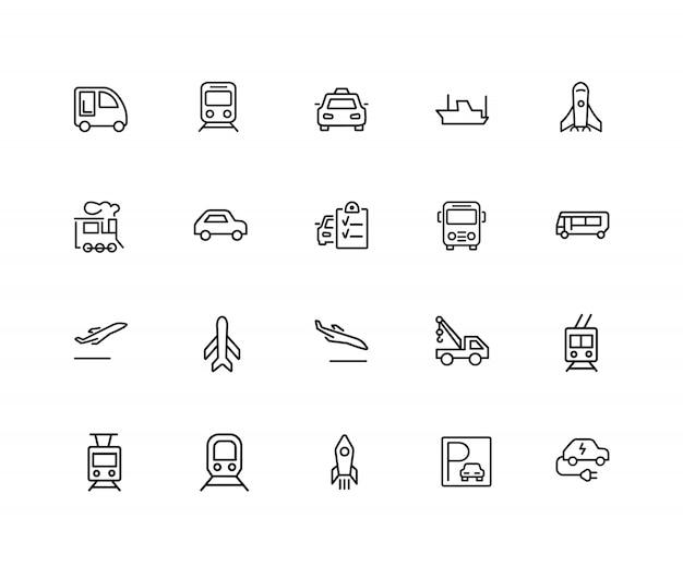 Icônes de transport. ensemble de vingt icônes de ligne. train, avion, taxi. jeu d'icônes de véhicule.