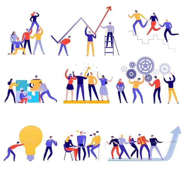 Icônes de travail d'équipe plat coloré avec des gens essayant d'atteindre des objectifs ensemble isolé sur blanc