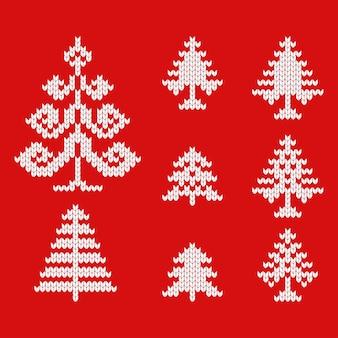 Icônes tricotées d'arbres de noël pour dessiner des cartes de voeux et faire de la publicité pour noël et le nouvel an.