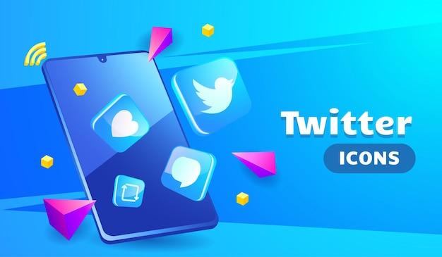Icônes twitter 3d sophistiquées avec smartphone