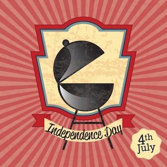 Icônes usa célébration de la fête de l'indépendance (barbecue) sur fond vintage