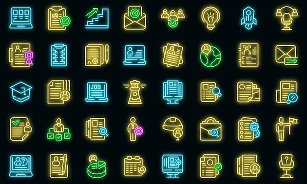 Les icônes de vacance définissent le vecteur de contour. cv d'emploi. portefeuille d'embauche