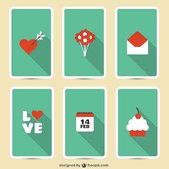 Icônes valentine emballent