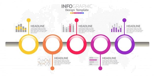 Icônes et vecteur de conception infographique timeline cinq étapes