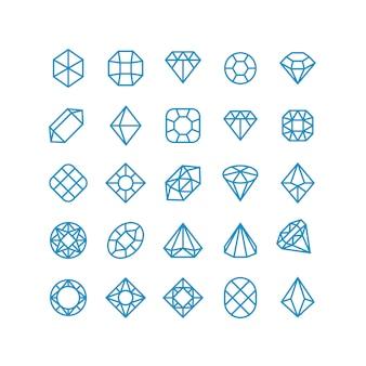 Icônes de vecteur ligne diamant. pictogrammes de bijoux femme brillante. symboles de vecteur de richesse