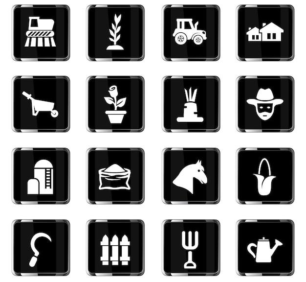 Icônes vectorielles de l'agriculture pour la conception de l'interface utilisateur