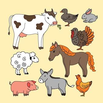 Icônes vectorielles avec animaux de compagnie