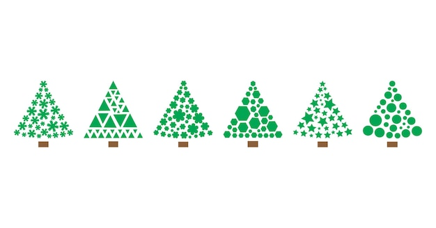 Icônes vectorielles arbre de noël formes géométriques stylisées illustration de vacances