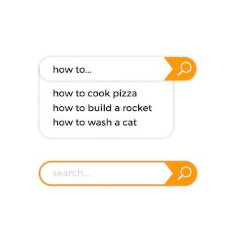 Icônes vectorielles de barre de recherche internet
