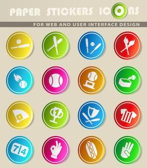 Icônes vectorielles de baseball web sur des autocollants en papier de couleur