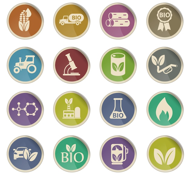 Icônes vectorielles de biocarburant sous forme d'étiquettes en papier rondes