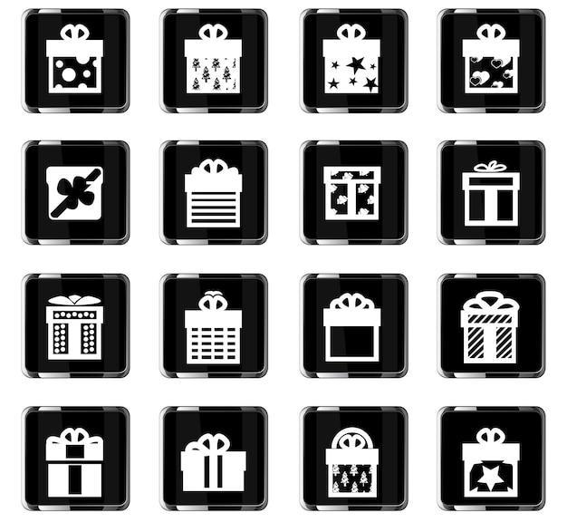 Icônes vectorielles de cadeaux pour la conception d'interface utilisateur