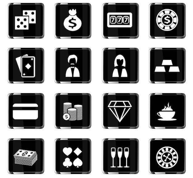 Icônes vectorielles de casino pour la conception d'interface utilisateur