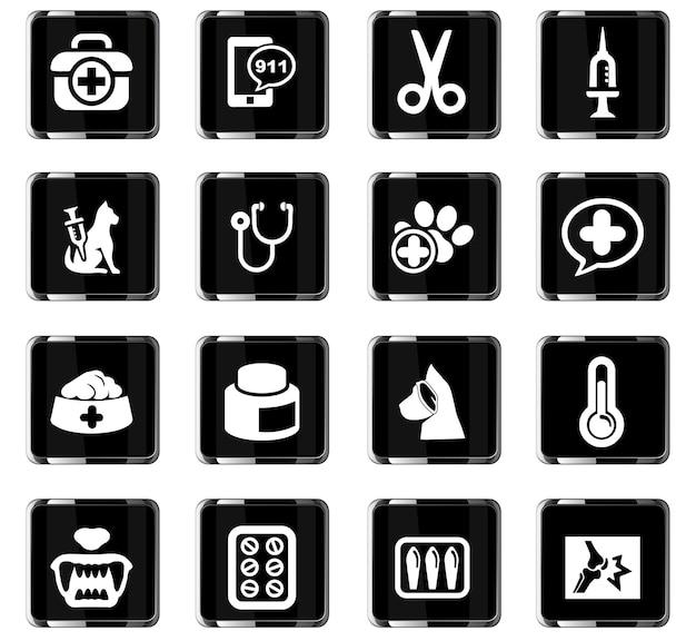 Icônes vectorielles de la clinique vétérinaire pour la conception de l'interface utilisateur