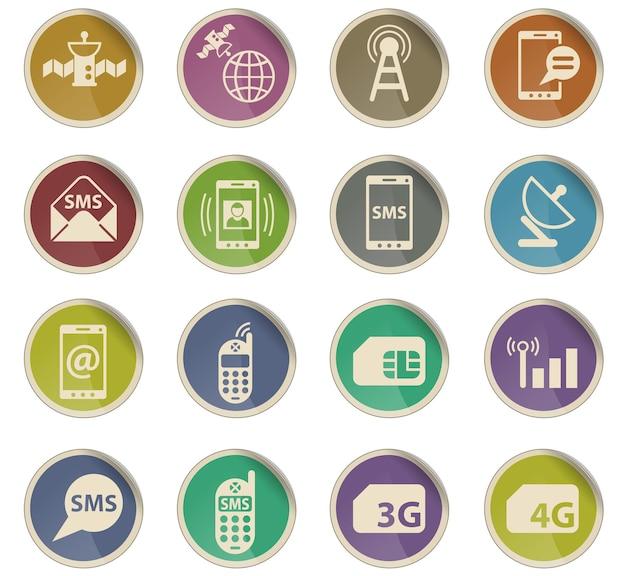 Icônes vectorielles de connexion mobile sous forme d'étiquettes en papier rondes