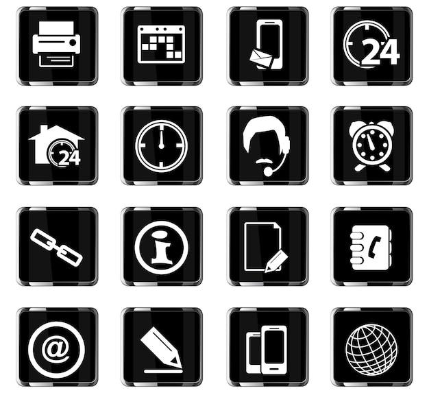 Icônes vectorielles de contacts pour la conception de l'interface utilisateur