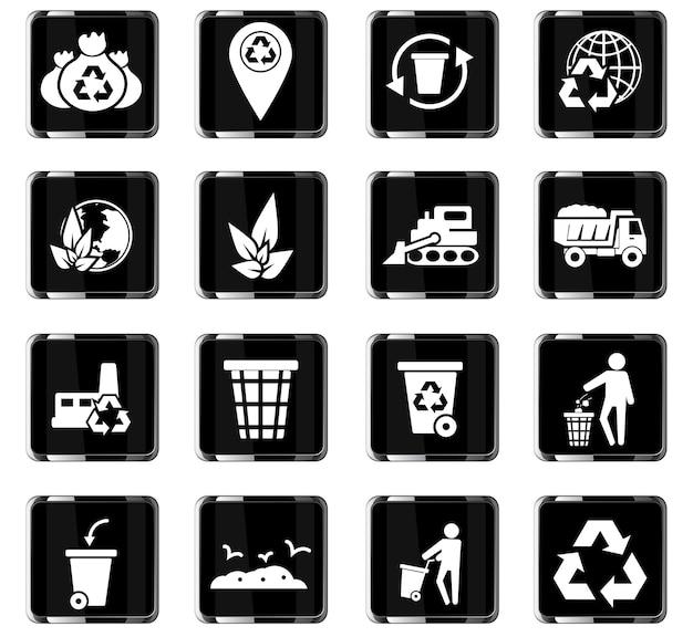Icônes vectorielles de déchets pour la conception d'interface utilisateur