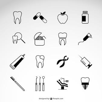 Icônes vectorielles de dentiste fixés