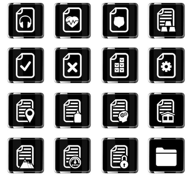 Icônes vectorielles de documents pour la conception d'interface utilisateur