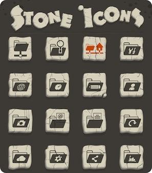 Icônes vectorielles de dossiers sur des blocs de pierre dans le style de l'âge de pierre pour la conception d'interfaces web et utilisateur