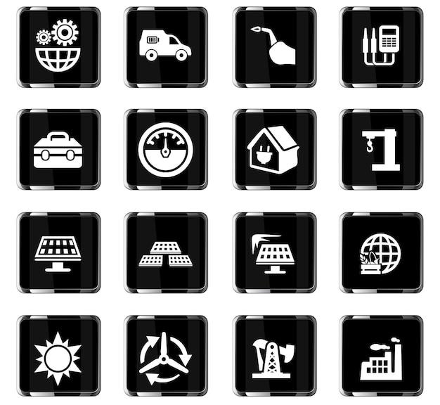 Icônes vectorielles d'énergie alternative pour la conception d'interface utilisateur