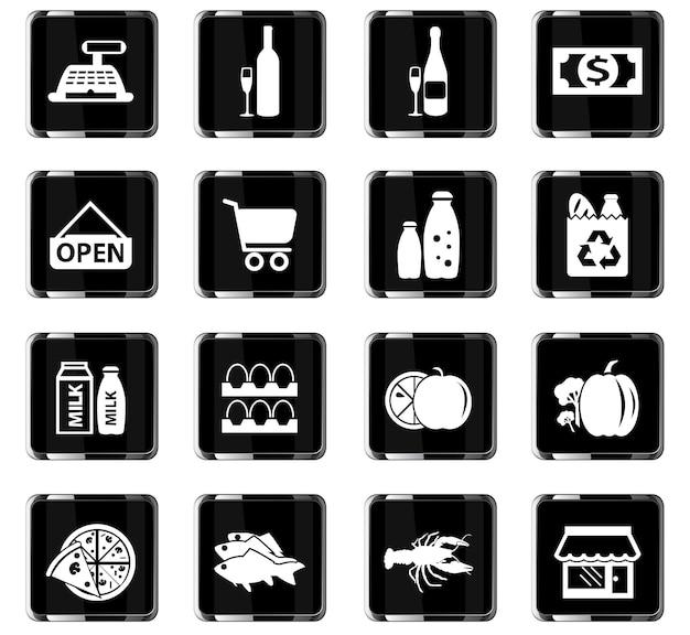 Icônes vectorielles d'épicerie pour la conception d'interface utilisateur