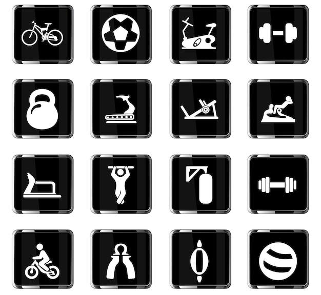 Icônes vectorielles d'équipement de sport pour la conception d'interface utilisateur