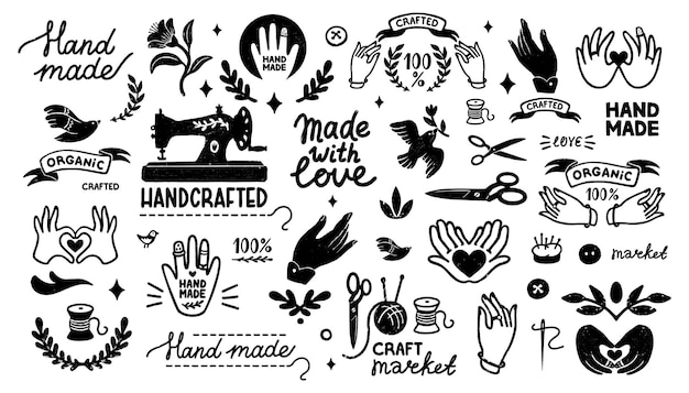 Icônes vectorielles faites à la main définissent des éléments vintage dans le style de timbre et des lettrages faits maison