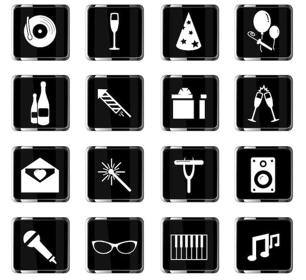 Icônes vectorielles de fête pour la conception de l'interface utilisateur