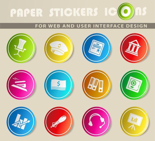 Icônes vectorielles des finances sur des autocollants en papier de couleur
