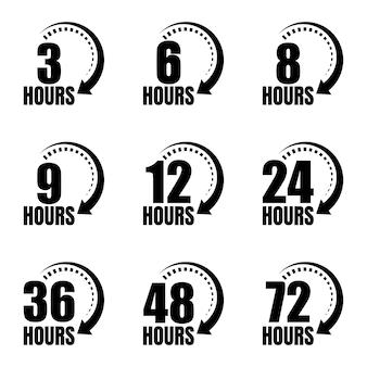 Icônes vectorielles de flèche d'horloge de 3, 6, 8, 9, 12, 24, 36, 48 et 72 heures. service de livraison, symboles de site web pour le temps restant de l'offre en ligne. illustration vectorielle.