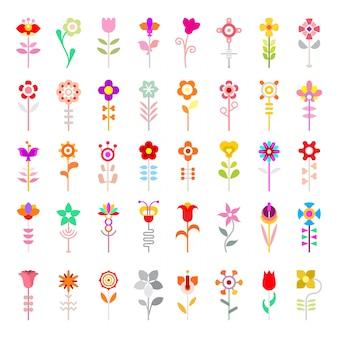 Icônes vectorielles de fleurs