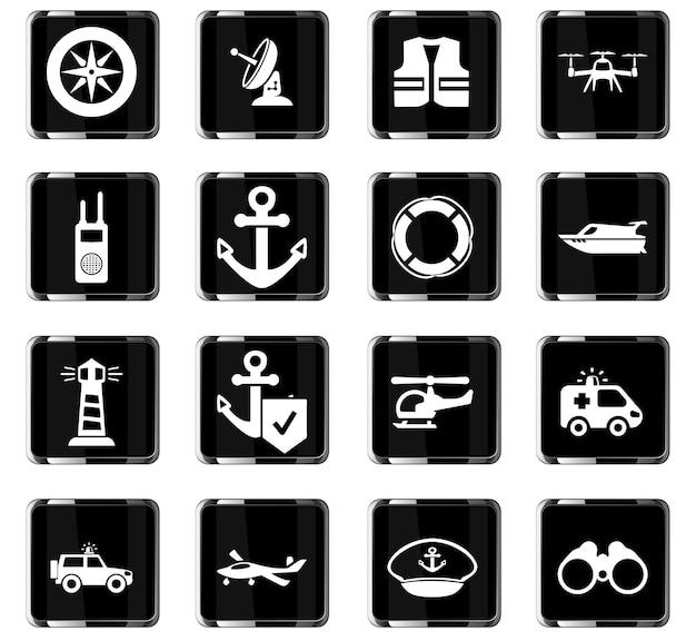 Icônes vectorielles de la garde côtière pour la conception de l'interface utilisateur