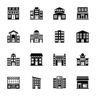 Icônes vectorielles de glyphe de la place de marché