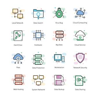 Icônes vectorielles d'hébergement web