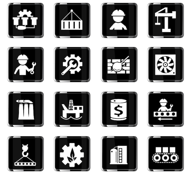 Icônes vectorielles de l'industrie pour la conception de l'interface utilisateur
